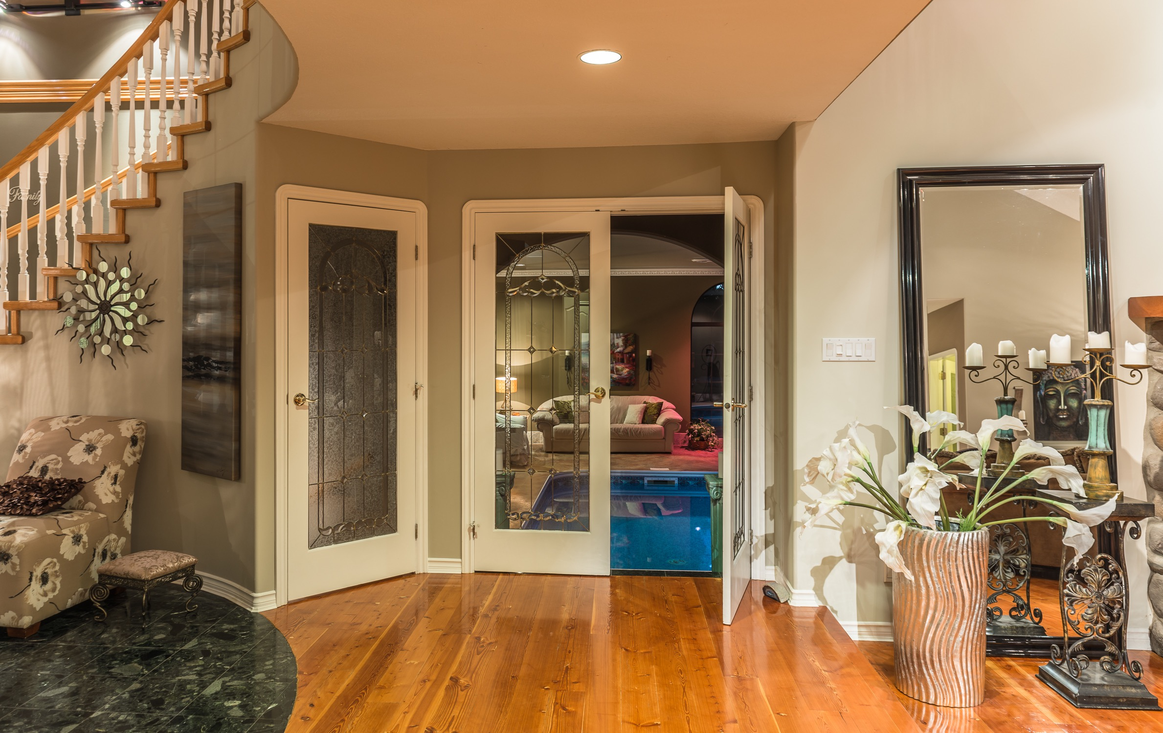 Indoor Pool French Doors Leading